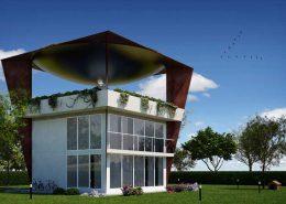 abitazione solare con eliostati dal-giardino