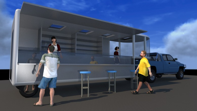 trailer equipped pickup in kitchen-traino attrezzato per pickup a cucina