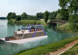 houseboat vista ambientazione fluviale
