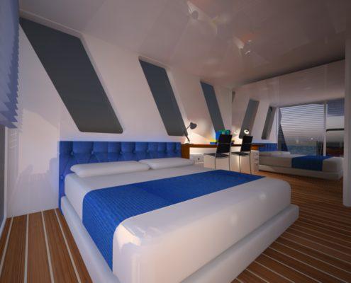 houseboat vista camera matrimoniale letto